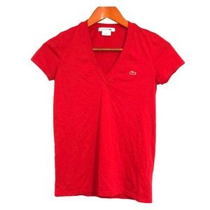 LACOSTE Essential V-Neck Short Sleeve Tee Red